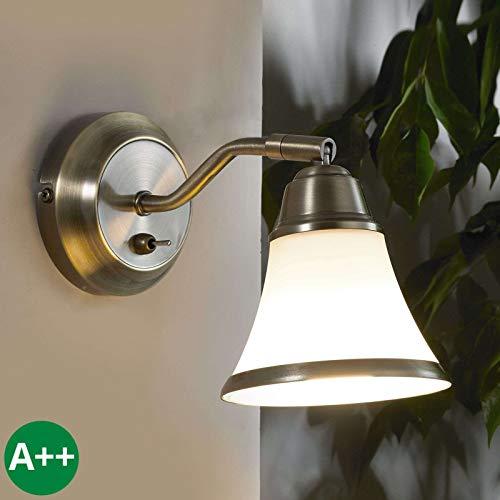 Bronze-metall-wandleuchte (Lampenwelt Wandleuchte, Wandlampe Innen 'Marita' dimmbar (Modern) in Bronze aus Metall u.a. für Wohnzimmer & Esszimmer (1 flammig, E14, A++) - Wandstrahler, Wandbeleuchtung Schlafzimmer /)