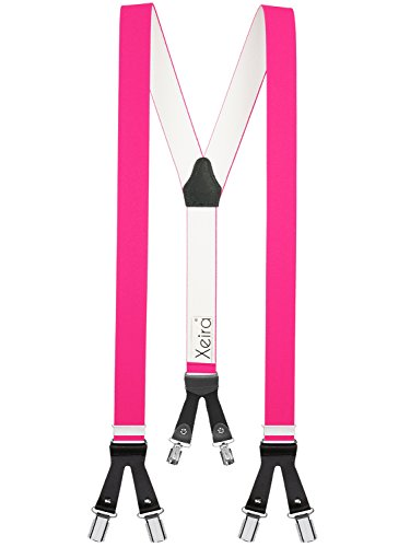 Xeira  - 6 Clips Hosenträger Neon Pink