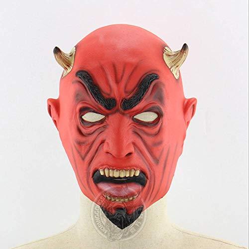 AIYA Golden Horned Fork Rotes Gesicht Teufel Halloween Ghost Mask Live Performance Nachtschatten Scary Head Cover (Gehörnte Brille Kostüm)