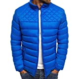 dahuo Mens Lightweight Long Sleeve Stand Collar Full Zip Quilted Puffer Jacket Cotton Coat Royal Blue S