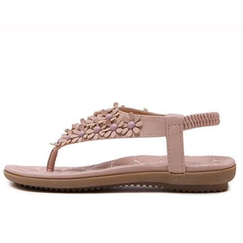 TAOFFEN Femmes Tongs Sandales Mode Slingback Clip Toe Ete Chaussures De Fleur Rose
