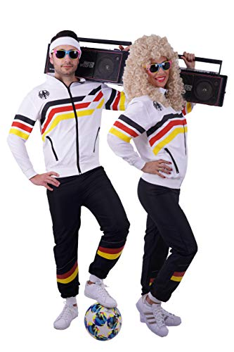 FetteParty - 80-er 90-er Jahre Retro Deutschland Erwachsenenkostüm, Deluxe Trainingsanzug - Jacke und Hose , Mehrfarbig EM WM Mottoparty, Karneval, JGA