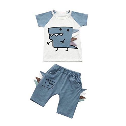 Webla Toddler Kids Baby Boy T Shirt Tops+ Shorts Cartoon Dinosaur Clothes Set Ages 1-4 Years