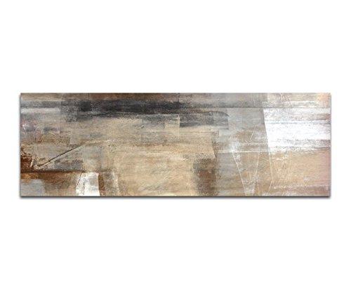 Bilder Wand Bild - Kunstdruck 120x40cm Malerei Kunstwerk abstrakt braun beige