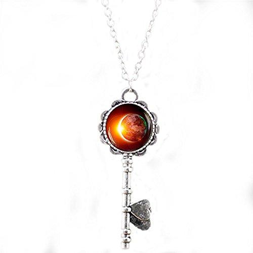 Platz Schlüssel Halskette, Galaxy Anhänger, Eclipse Halskette, Erde Solar Eclipse - Schlüssel Eclipse