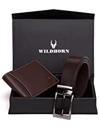 WildHorn Men Brown Genuine Leather Wallet Gift Set Combo
