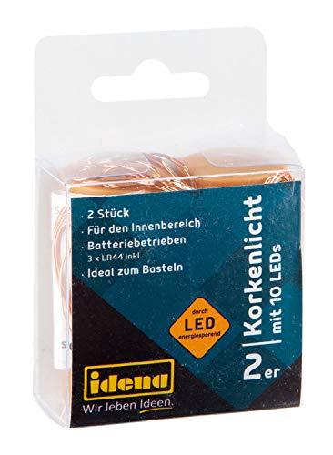 Idena 31091 - 2 Stück Flaschenlichter, Micro Lichterkette mit 10 LED warmweiß, Kupferdraht mit Korken, inklusive Batterien, für Hochzeit, Party, Deko, Weihnachten, als Stimmungslicht -