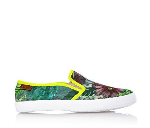 Guess Grüne Slippers aus Stoff, Blumen-Druck auf den ganzen Schuh,Mädchen,kind,damen-36 (Schuhe Kinder Guess)