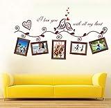 ZBYLL Wall Sticker Ich Liebe Dich von ganzem Herzen Vögel Foto FrameFor Wohnzimmer Hochzeit Dekoration Home Decor Aufkleber Kunst