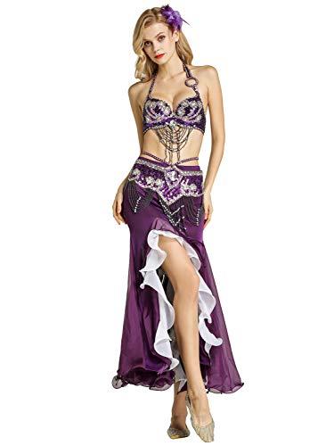 Zengbang Mode Indische Tanz Bauchtanzanzüge Set Fischschwanzrock BH Top Bauchtanz Kostüme Für Frauen (Lila(3PCS), Asien S)