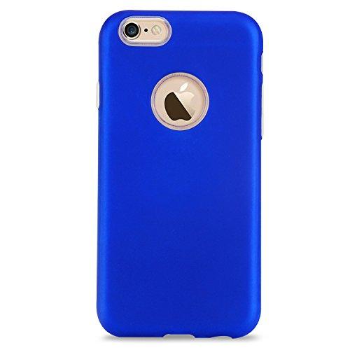 iPhone 6 Coque [4.7 pouce] , TPU couleur unie Case Silicone Slim Souple Étui de PRougection Flexible Soft Cover Anti Choc Ultra Mince Integrale Couverture Bumper Caoutchouc Gel Anfire Housse pour iPho Bleu