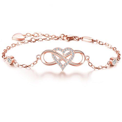 """BlingGem Armband""""Für immer zusammen"""" 925 Sterling Silber Unendlichkeits-Herz Zirkonia Mode-Armband Damen"""