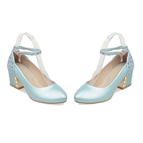 AllhqFashion Femme à Talon Correct Couleur Unie Boucle Matière Souple Rond Chaussures Légeres Azur