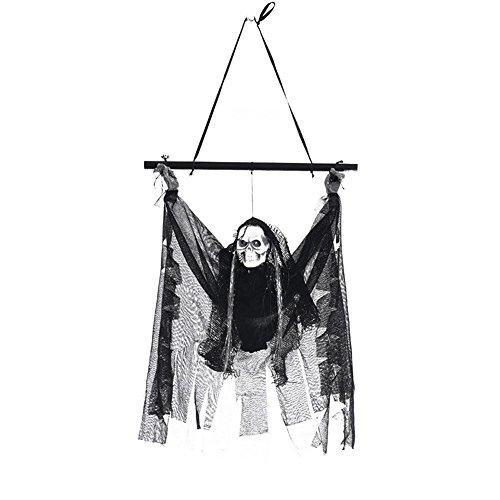 Halloween Induktion Horror Requisiten Glänzende Skeleton Anhänger Haunted House Bar KTV Dekoration leuchten LED mit Augen beängstigend hängenden Geist für Outdoor Garten Festival Party