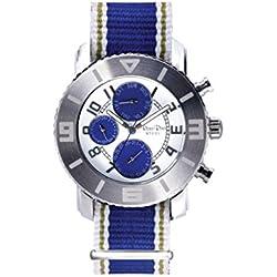 Ross Rino Chamäleon (Sternbild) Unisex Quarzuhr mit Blau Zifferblatt Analog Display und Blau Nylon Armband