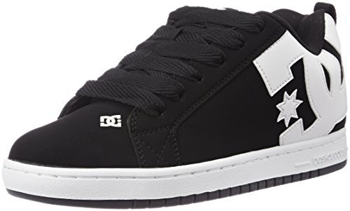 mens-dc-shoes-court-graffik-nubuck-skate-shoes-low-top-lace-up-trainers-black-white-10