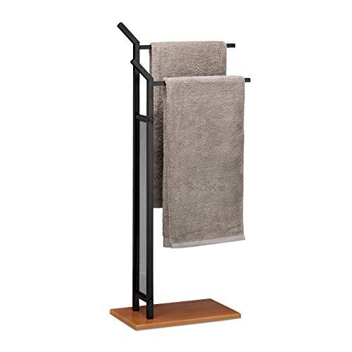 Relaxdays Handtuchständer, 2 Stangen, Handtuchhalter stehend, Badetuchhalter ohne Bohren, HBT 88 x 40 x 20 cm, schwarz