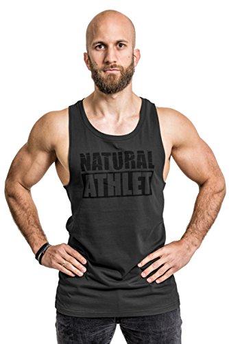 NATURAL ATHLET Herren Muskelshirt  - 022 - in Anthrazit I Männer Shirt aus Baumwolle mit Rundhals Ausschnitt I Tank Top Ideal für Sport, Fitness, Gym und Bodybuilding L
