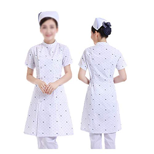 CX ECO Medical White Coat Damen Krankenschwestern Uniform Krankenhaus Workwear Medical Scrub Tunika Top 2 Taschen Krankenschwester Uniform,Print,S - White Scrub-jacke