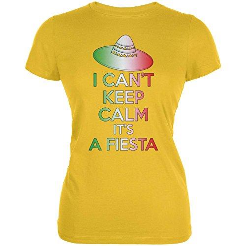 Cinco De Mayo Fiesta halten nicht ruhig Junioren weichen T Shirt. Yellow
