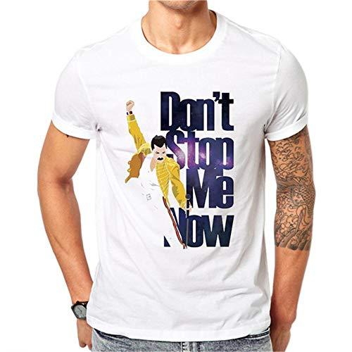 ZRJRJ LettBao Freddie Mercury Lustige Herren T-Shirts Sommer Kurzarm Herren T-Shirt Harajuku O-Neck Weißes T-Shirt Fashion Summer Top,M