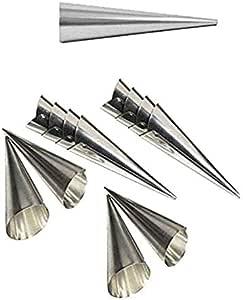 12 Stück Schillerlockenform aus Edelstahl 11 x 3,8 cm Schaumrollen Backform Trubotschki Hörnchen Sahnerollen Schillerlocke Cornet Form zum backen