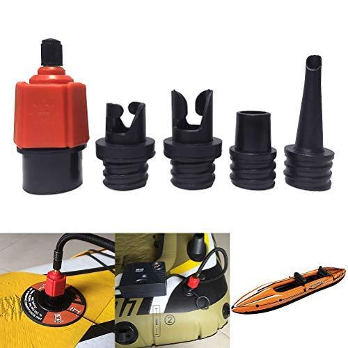 Hihey Paddle Co SUP Aufblasbarer Adapter für Schrader Ventile 1PC SUP Surf Paddle Ventiladapter und 4PCS Gasdüse für Schlauchboote