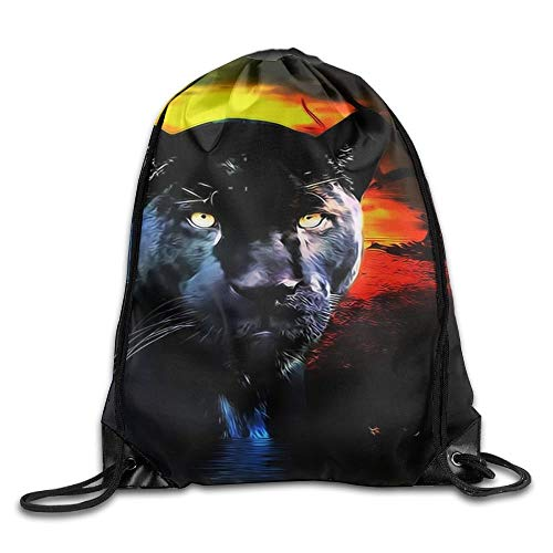 HLKPE Panther Drawstring Backpack Rucksack Shoulder Bags Training Gym Sack for Man and Women