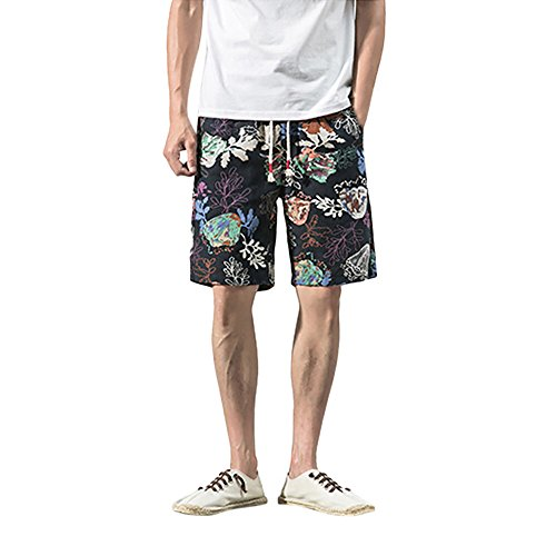 JYJM Herren Summer Short Herren Baumwolldruck Shorts Herren Print Strandhosen Herren Casual Loose Shorts Herren Pyjamas Herren Outdoor Sports Shorts Herren Home Shorts Herren Fashion Shorts