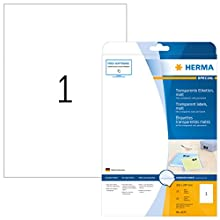 HERMA Self Adhesive Clear Heavy Duty Weatherproof Labels, 1 Label Per A4 Sheet, 25 Labels for Laser Printers, 210 x 297 mm (4375)