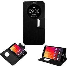Donkeyphone 599371031 - flip cover negra para lg magna h500f h502f g4c h525n funda con ventana, tapa, apertura libro, cierre con iman y soporte