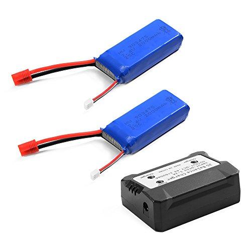 Preisvergleich Produktbild XCSOURCE® 2 Stück 7,4V 2000mAh 25C Akku Lipo Batterie + 2 in 1 Batterie Ladegerät Gleichgewicht Für Syma X8C X8W X8G Quadcopter BC587