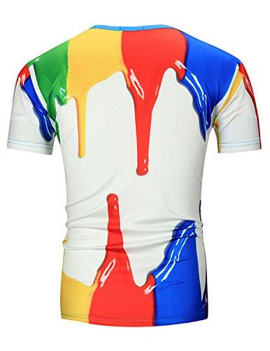 YCHENG Unisex Bunt 3D Druck Muster Rundhals Casual Strassenmode Sport Spaß Motiv Tops T-Shirts Orange