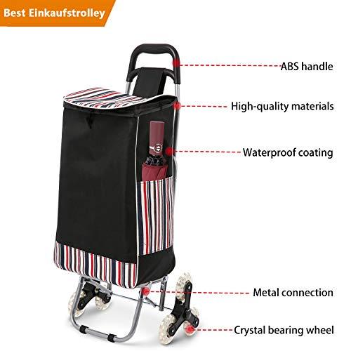 COOCHEER 32L Einkaufstrolley Klappbar mit Noiseless Gummi Tri-Wheels, 150 lbs Lebensmittel Einkaufswagen Treppensteiger Versandtasche Größe 13 x 7,1 x 21,3 Zoll