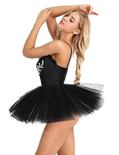 Alvivi Damen Ballettkleid Ballett Trikot Tanz Kleidung Rückenfrei Ballettanzug Gymnastikanzug Ballett Kleider Mesh Ballettrock Tuturock Schwan Kostüm in Weiß Schwarz Schwarz ()