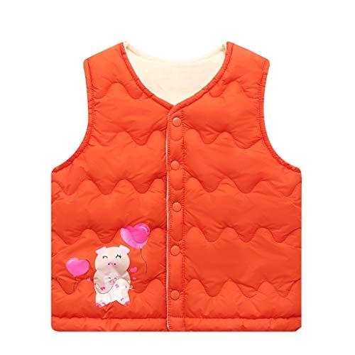 Steppweste Jungen Mädchen Unisex UFODB Baby Weste Kinder Jacke Steppjacke Cartoon Daunenweste Leichte Winterjacke Mantel Button übergangsjacke Outwear Coat Tops (Cartoon Zeichen Kostüm Für Partys)