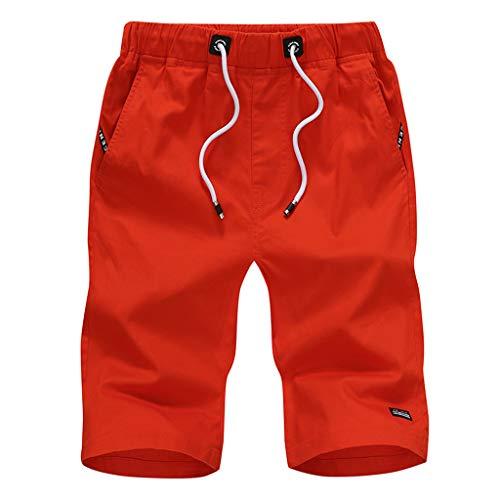Morran Herren Sommer Kurze Jeans Cargo Shorts Jogger Kurze Hose Basic 3/4 Freizeit Sport Fünf-Cent-Hosen Baumwolle mit Gürtel Strand Kurze Hosen(rot,XXXL)