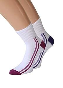 Damen Trekking Socken Set Trekkingsocken Damen Sportsocken Funktionssocken Joggingsocken, 2 oder 6 Paar (1 Paar lila + 1 Paar bordeaux, 35-38)