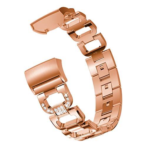NIUQY Klassisch D Word Metallarmbänder Austauschbare verstellbare Riemen Kristall Geeignet Kompatibel mit/Ersatz für Fitbit Charge 3 Charakteristisch Mode Uhrendesign Personalisiert Style