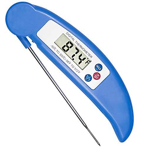 2pc termometro per alimenti, pieghevole digitale istantanea leggi candy/carne termometro con sonda per cucina cucina, barbecue, pollame, grill,blue
