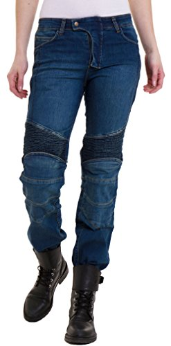Qaswa Damen Motorradhose Jeans Motorrad Hose Motorradrüstung Schutzauskleidung Motorcycle Biker Pants, W32-L31, Blue