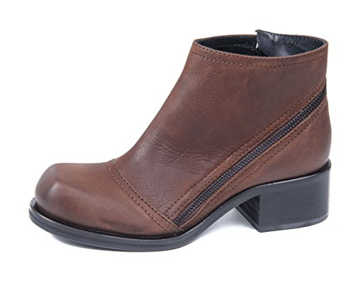 McQ Alexander McQueen BIKER FLAT ZIP BOOT BROWN DONNA