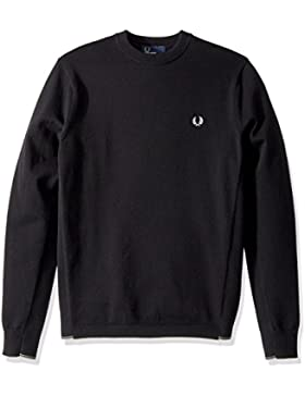 Fred Perry Twin Tipped Crew Neck Jumper Black, Suéter
