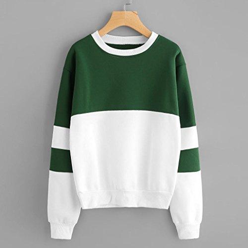 MORCHAN Femme Sweats à Capuche De Long Hoodie Sweatshirt Double Combinaison De Couleursr Vert