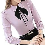 Bininbox Elegant Damen Bluse Langarm mit Schleife OL Business Hemdbluse Regular Fit Oberteil in 4 Farben XL Pink
