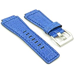 StrapsCo Blue Alligator Leather Watch Band for Bell & Ross size 24mm