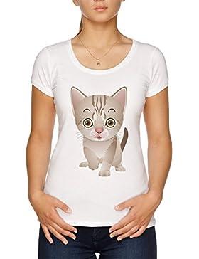 Vendax Dibujos Animados Bote Camiseta Mujer Blanco