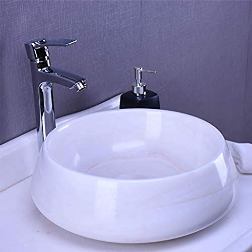 Gorheh Ovales Kunstbecken Weißes Waschbecken Marmor Aufsatzwaschbecken Retro Art Badezimmer Steinwaschbecken Waschbecken