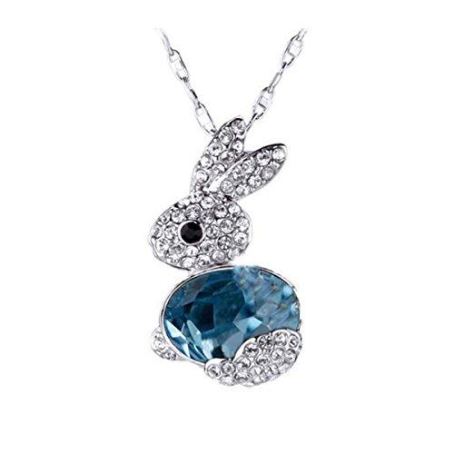 Crystal Girls Pullover (BESTOYARD Kaninchen Halskette Bunny Crystal Anhänger Halskette Schmuck Zubehör für Frauen Mädchen (Blau))