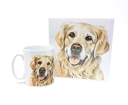 Ensemble 2 pièces Golden Retriever Chien fabriqué en Royaume-Uni Tasse en céramique mug pot accueil anniversaire carte de Noël